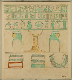 Facsimile of the painting at the head end of the sarcophagus of Aashyt. First Intermediate Period to Middle Kingdom, 11th Dynasty, reing of Mantuhotep II, ca. 2051-2030 B.C.