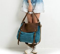 Sky Blue Leisure men's and women's single door canvasleatherbag,