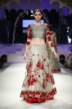 A floral and sequins lehenga by Varun Bahl. Shop for your wedding trousseau with Bridelan - a wedding shopper & styling services for brides & grooms. Website, www.bridelan.com #Bridelan
