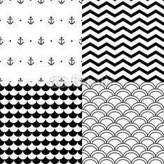 Fototapeta winylowa Black and white vector navy seamless patterns set