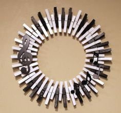 Treble Clef, music notes on piano key background clothespin wreath. Treble Clef, music notes on piano key background clothespin wreath. Piano Crafts, Music Crafts, Music Notes Decorations, Diy Vintage, Old Pianos, Clothes Pin Wreath, Piano Keys, Music Lovers, Decor Crafts