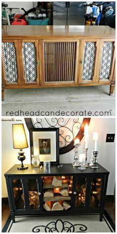 Stereo Console Makeover - Redhead Can Decorate