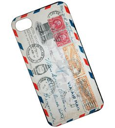 Air Mail Phone case, cover for iPhone 4 and 4s - Vintage Air Mail envelope. $17.95, via Etsy.
