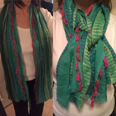Multicolor Scarf with Small Tassels Love this Indian-inspired scarf. Colors include green, yellow, blue and hot pink. Accessories Scarves & Wraps