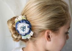 Floral+Hair+Barrette+Navy+Blue+Fabric+Flower+by+rosyposydesigns,+$24.00
