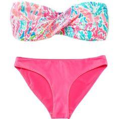 Lilly bikini! s.u.m.m.e.r. ❤ liked on Polyvore featuring swimwear, bikinis, bathing suits, swim, swimsuits, pink swimsuit, swim bikini, lilly pulitzer swimsuit, swim suits and lilly pulitzer bathing suit