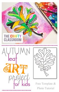 Zentangle Fall Leaf Art Project Materials: Oak Leaf Template Black Pens Oil pastels Watercolors Name… Fall Art Projects, School Art Projects, Projects For Kids, Art School, Thanksgiving Art Projects, 4th Grade Art, Art Lessons Elementary, Leaf Art, Art Lesson Plans