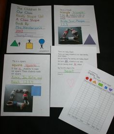 From Teach with Me:Shaping Kids Up Shape Booklet.  Students are the stars of this shape booklet.  Pose students into different shapes and take pictures. Incorporate pictures into easy fill-in-the-blank reader.