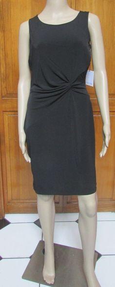 Calvin Klein Black Cocktail Sleeveless Knot Above Knee Dress NWT Sz 6 14 #CalvinKlein #StretchBodycon #LittleBlackDress