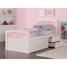 Donco Kids Twin 6 Drawer Storage Bed in Dark Cappuccino or White (White - White Finish)