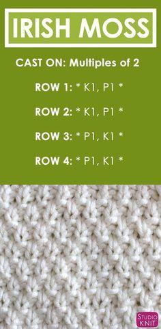 Irish Moss Knit Stitch Pattern and Video Tutorial by How to Knit the IRISH MOSS Stitch Free Knitting Pattern + Video Tutorial by Studio Knit Knitting Stiches, Knitting Patterns Free, Knitting Needles, Free Knitting, Stitch Patterns, Crochet Patterns, Knit Stitches, Knitting Ideas, Knitting Tutorials