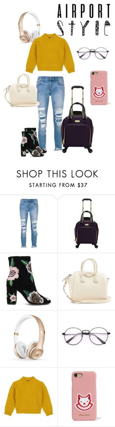 """High maintenance flyin'"" by addiandthfreya ❤ liked on Polyvore featuring J Brand, Rebecca Minkoff, Givenchy, Comme Moi, Miu Miu and airportstyle"