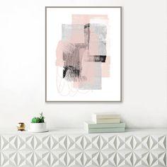 Pink and Grey Abstract Art, Large Minimalist Paintings, Printable Minimal Art, Minimalist Modern Art, Original Wall Art