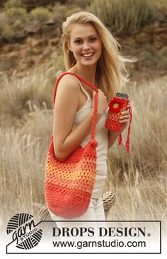 "Crochet DROPS bag and mobile pouch in 2 threads ""Safran"". ~ DROPS Design"