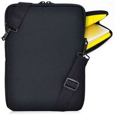 Turtleback Essential Gear Vertical Padded Sleeve Slip Case with Removable Strap for Laptop and Macbook. This includes a removable adjustable strap for all purposes. The strap has a nice sheen design for ultimate comfort and durability. Macbook Laptop, Macbook Sleeve, Ipad Sleeve, Laptop Bag, Briefcase, Yellow Black, Laptop Sleeves, Cases, Ebay