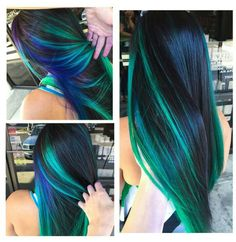 Blue green streak dyed hair color idea inspiration is beautiful. i really don't know how i wanna dye my hair now there are WAY too many options omg Hair Color And Cut, Cool Hair Color, Purple Hair, Blue Green Hair, Purple Ombre, Pastel Hair, Black Hair, Teal, Hair Dye Colors