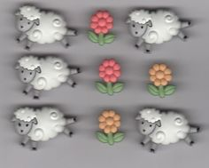 Jesse James Dress It Up Buttons-Lambs-Counting Sheep- Flowers& Sheep-9 Pieces #JesseJames