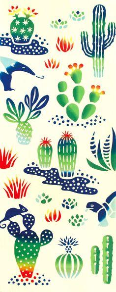 Kenema - Cactus (The dyed Tenugui)