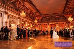 The bride and groom on their wedding day at the Fairmont Copley Plaza in Boston. Photographed by Eric Barry Photography.