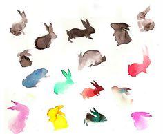 Watercolor bunnies, by Holly Brinkworth #art #journal  #watercolor #rabbit