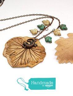 Clay Leaf necklace Fall necklace Clay necklace Lizard necklace Fall jewelry Autumn jewelry fimo necklace Forest leaf Nature Woodland necklace Leaf jewelry Womens gift from KatrinHandmadeGifts