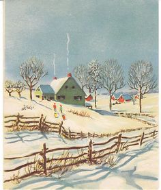 Vintage Christmas Card Farm House in Snow 1951 Made in USA | eBay