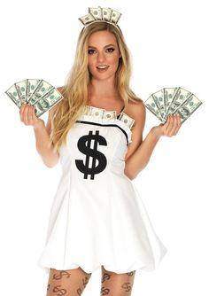 New Leg Avenue 86666 2PC.Miss Money Bags,dollar sign Halloween Costume  #LegAvenue
