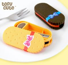 Kawaii Sandwich Biscuit Pencil Sharpener & Eraser at Tofu Cute