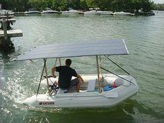 SOLAR BOAT SETUP: Flexible solar panels 3 x 68 Watts. 2 Marine deep-cycle batteries. 1 Solar charge controller. 1 Min Kota electric trolling engine 55 lbs thrust. http://www.boatstogo.com/solar_inflatable_boats.asp