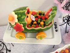 Watermelon Baby Girl Carriage - use excess watermelon for flowers