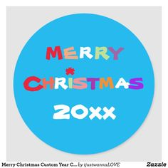 Merry Christmas Custom Year Cute Modern Classic Round Sticker. Created by RjFxx *All right reserved. #ChristmasRoundSticker