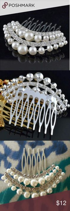 """Pearl Hair Piece Pretty hair comb in a clear stone and pearl look. Silver tone comb. Pearls are a natural off white color.  2.5"""" x 2.5"""" Boutique Accessories Hair Accessories"""