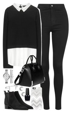 """Outfit with black jeans and collared jumper"" by ferned on Polyvore featuring Topshop, Alice + Olivia, Casetify, Givenchy, Acne Studios, FOSSIL, French Connection and OPI"