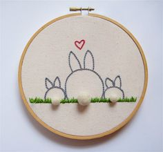 Mother and Baby Bunny Rabbit Embroidery Hoop Art - Family Portrait - FREE SHIPPING. via Etsy.