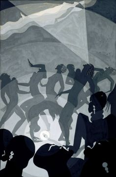 Project 4- three color character illustration inspiration (Aaron Douglas)