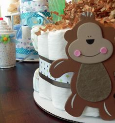 Monkey Diaper Cake  One Tier  Baby Shower gift or by BabyBinkz, $27.50