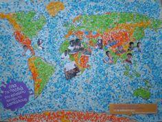 Τα 18 παιδιά του Α3 Γενικού Λυκείου Μακροχωρίου, δημιούργησαν έναν παγκόσμιο χάρτη με κολάζ, βάζοντας και φωτογραφίες μαθητών αναπτυσσόμενων χωρών.