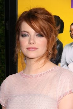 Emma Stone with swooping bangs