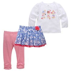 A great look for your baby girl! This 3 piece set includes a long sleeve tee with print, double layered skirt with elastic waistband and rosette and a pair of stretchy leggings, gathered at the bottom. Skirt Leggings, Layered Skirt, Mix Match, 3 Piece, Kids Outfits, Long Sleeve Tees, Pajama Pants, Children, Sweatshirts