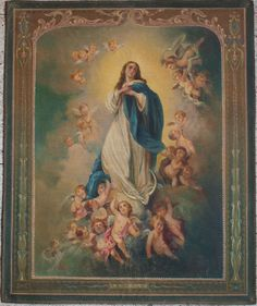 Etsy のImmaculate Conception Virgin Mary w Angels Religious Tapestry Hand Painted Interior Vintage Antique /517(ショップ名:GliciniaANTIC)