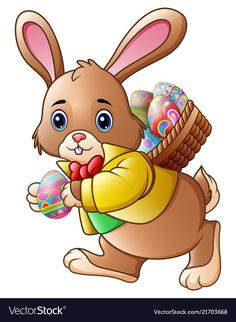 Cartoon easter bunny carrying a basket full of egg vector image on VectorStock Happy Easter, Easter Bunny, Easter Eggs, Rabbit Clipart, Egg Vector, Easter Pictures, Kids Room Wallpaper, Easter Printables, Easter Holidays