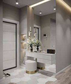Hall de entrada clean, moderno e lindo. Interior Design Living Room, Living Room Designs, Living Room Decor, Design Interior, Bedroom Closet Design, Modern Bedroom Design, Bedroom Tv, Modern Design, Home Entrance Decor