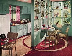 Retro room divider. Kitchen in the '50s were so modern.