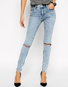 ASOS Lisbon Skinny Mid Rise Jeans in Daydreamer Wash With Busted Knees at asos.com #skinnyjeans #offduty #covetme