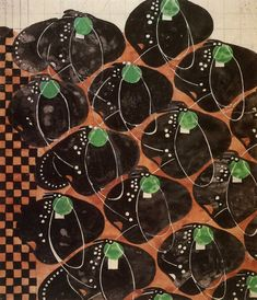 'Stylized flowers and checkerwork' textile design by Charles Rennie Mackintosh, produced in 1915