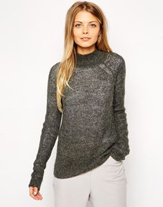 Enlarge ASOS Ribbed Sweater With High Neck In Mohair
