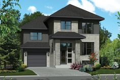 The best contemporary house floor plans. Find small 1 story shed roof lake home designs, modern open layout mansions & more! Contemporary Style Homes, Contemporary House Plans, Modern House Plans, Contemporary Decor, Modern Homes, Bungalow House Design, House Front Design, 2 Storey House, Surface Habitable