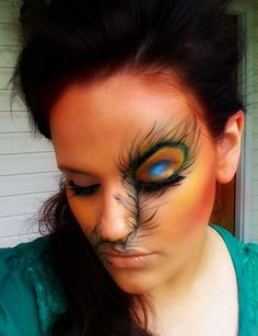 I'm sorry, but this looks like this woman got into a massive face-accident, with stitches and some horrible eye-damage.  Cute in theory, FRIGHTENING in practice. (Peacock Feather makeup)