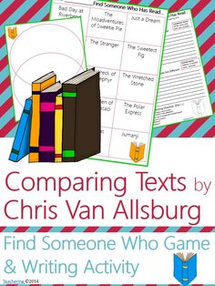 """Chris Van Allsburg Author Study activities: """"Find Someone Who Has Read"""" game and compare contrast writing activity about Chris Van Allsburg's books! Fun opening or closing activity for an author study-- aligned to Common Core!  TONS of other author studies in this store! #Teachering"""