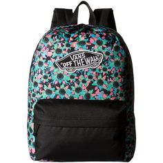 6443f4adce Vans Realm Backpack ((Floral Mix) Black Turquoise) Backpack Bags ( 28) ❤  liked on Polyvore featuring bags